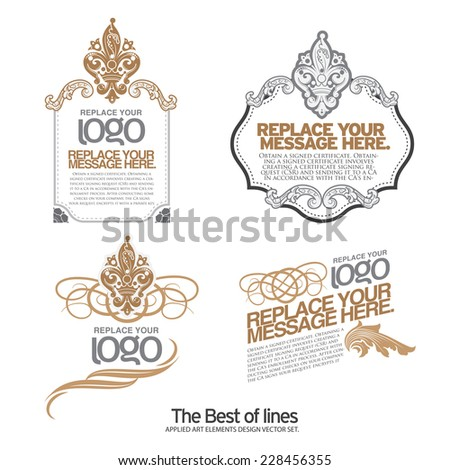 Set of layout label,, ribbons, marks and calligraphic design elements, vector - stock vector