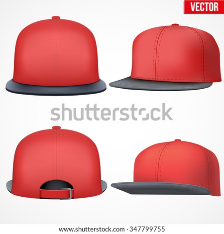 Set of Layout of Male red rap cap. A template simple example. Editable Vector Illustration isolated on white background. - stock vector
