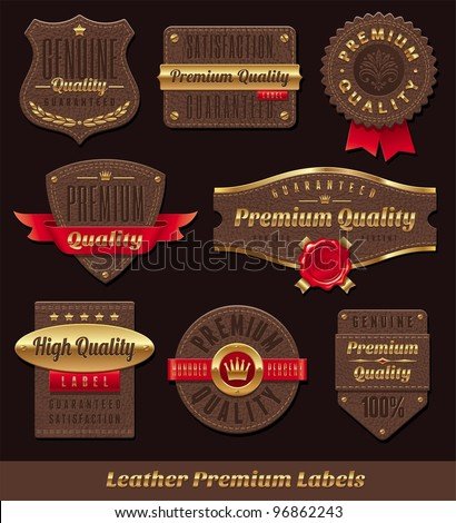 Set of leather & gold premium quality labels and emblems - stock vector