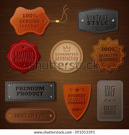 Set of leather labels for clothes on a brown wood background in vintage style vector illustration - stock vector