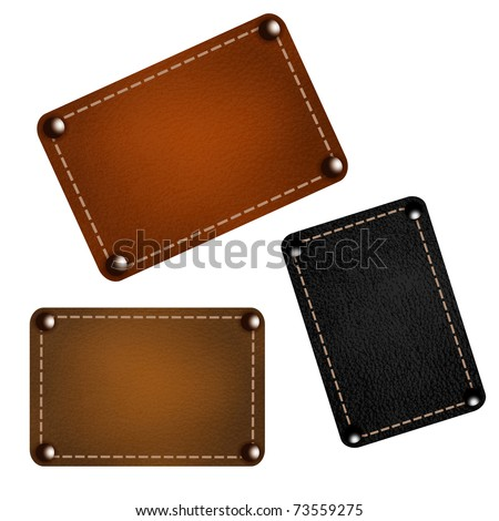 Set of leather labels. Vector eps10 illustration - stock vector