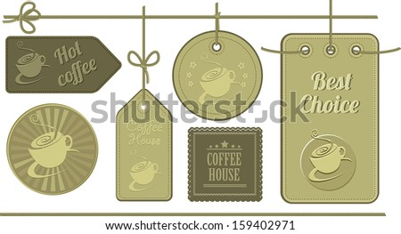 set of leather tabs featuring a coffee mug - stock vector