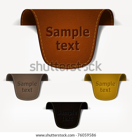 Set of leather tag labels. Vector eps10 illustration - stock vector
