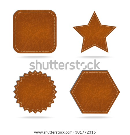 Set of leather tag on white  background .Vector illustration - stock vector