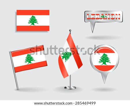 Set of Lebanese pin, icon and map pointer flags. Vector illustration. - stock vector