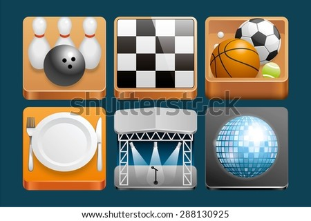 Set of Leisure icons - stock vector