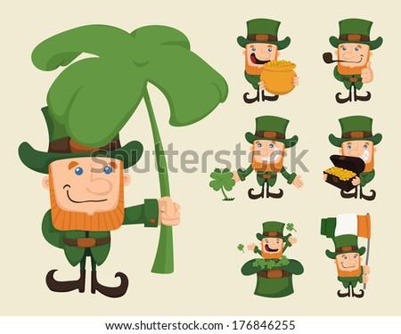 Set of leprechaun characters poses , eps10 vector format - stock vector