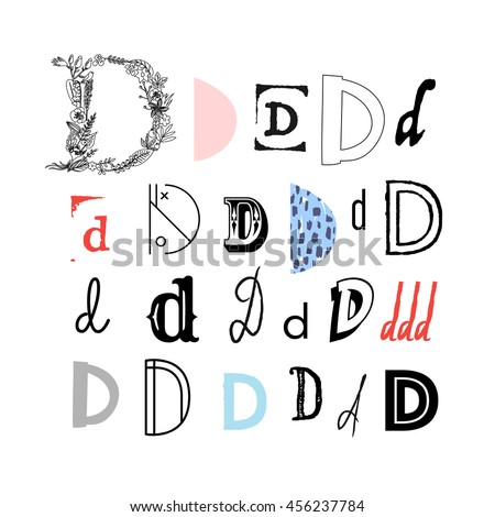Set Of Letter D In Different Style Collection Alphabet Symbols Vector Illustration