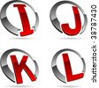 Set of letter 3d vector icons such logos. - stock photo