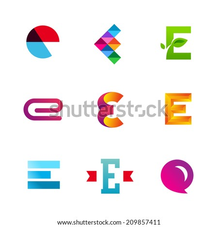 Set of letter E logo icons design template elements. Collection of vector signs. - stock vector