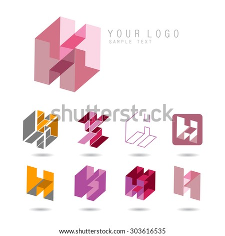 Set of letter H icons for corporate identity, element for sign and logo - stock vector