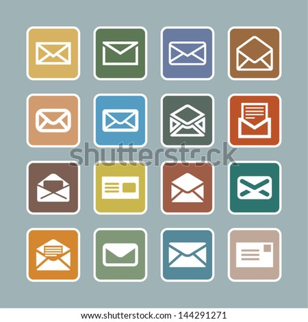 Set of letter icons - stock vector