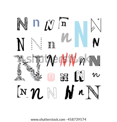 Set Of Letter N In Different Style Collection Alphabet Symbols Vector Illustration
