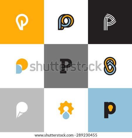 Set of letter P logo templates with drop and light bulb. Collection of creative vector icons for design - stock vector