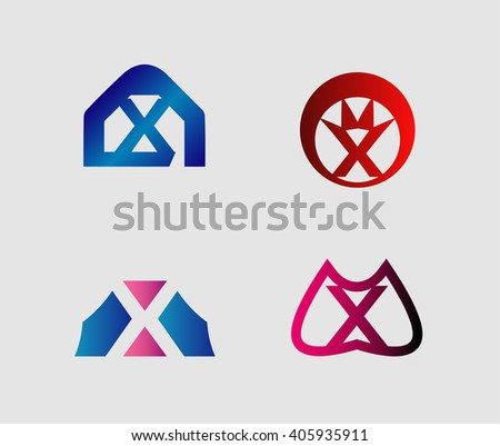Set of letter x logo icons design template elements. Collection of vector signs.  - stock vector