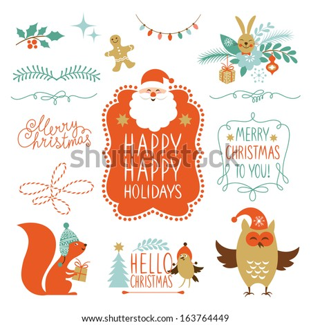 Set of Lettering and Christmas graphic elements  - stock vector
