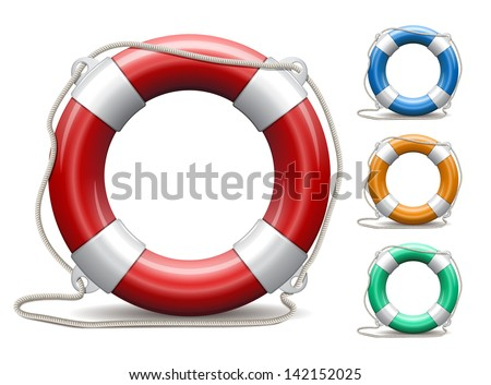 Set of life buoys on white background. Vector Illustration. - stock vector