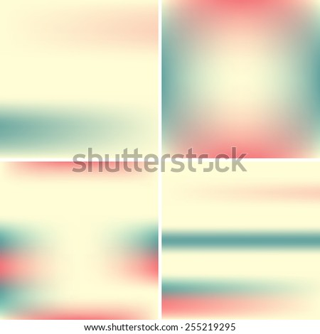 Set of light blue and pink blurry backgrounds. Pastel colors - stock vector