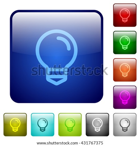 vector square blue icon lighting bulb. set of light bulb color glass rounded square buttons vector blue icon lighting