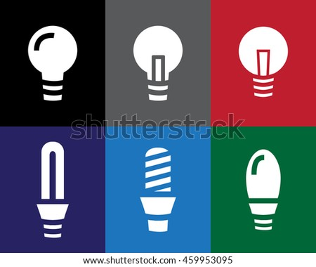 Set of Light bulb icon in stencil style, vector