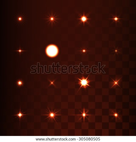 Set of  light effect stars with sparkles on transparent background - stock vector
