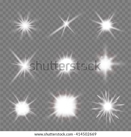 set of light flashes over transparent background. vector illustration - stock vector