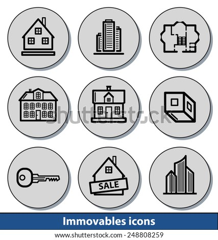 Set of light immovables icons with reflection line and thin lines - stock vector