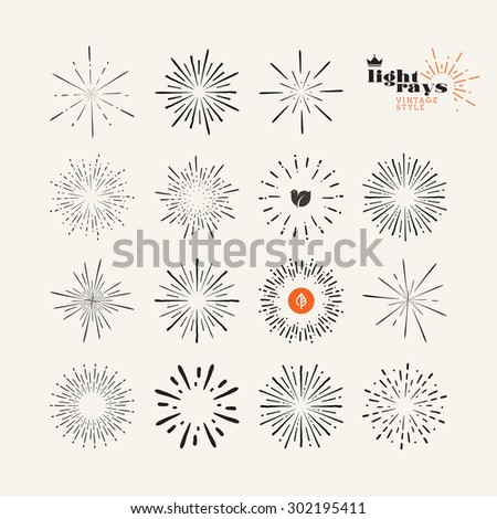 Set of light rays vintage style elements, Vector illustration, hand drawn, sunburst elements and icons for trendy badges and labels. - stock vector