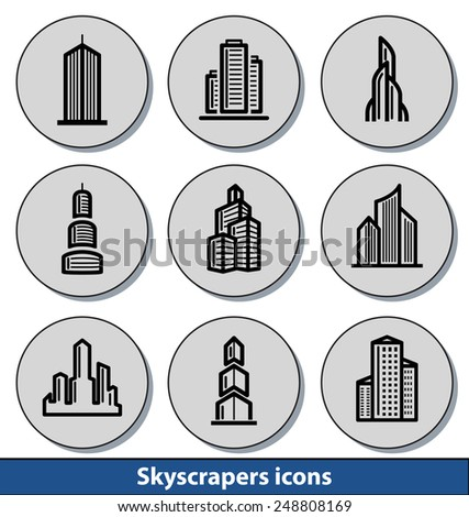 Set of light skyscrapers icons with reflection line and thin lines - stock vector