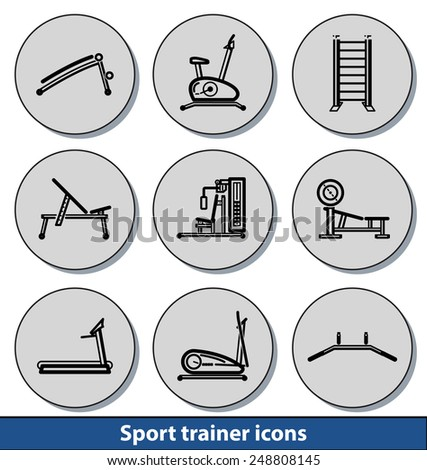 Set of light sport trainer icons with reflection line and thin lines - stock vector