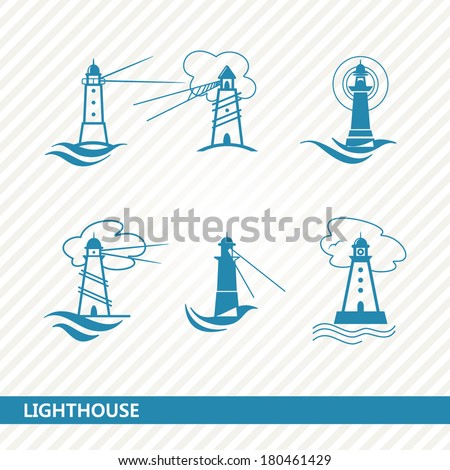 set of lighthouses - stock vector