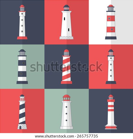 Set of lighthouses icons in modern flat style - stock vector