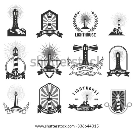 set of lighthouses labels and icons. Lighthouse label,logo or badge template. Vector illustration. - stock vector