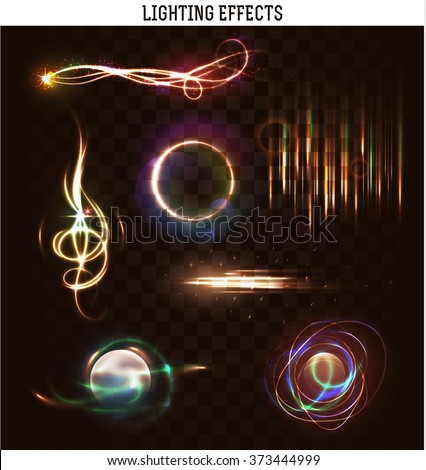 Set of lighting isolated effect. Magic, bright, brilliant patches of light. Shining star. Effect for background and design. Light patches of light. Bright stars. Set of effects. Realistic effect - stock vector