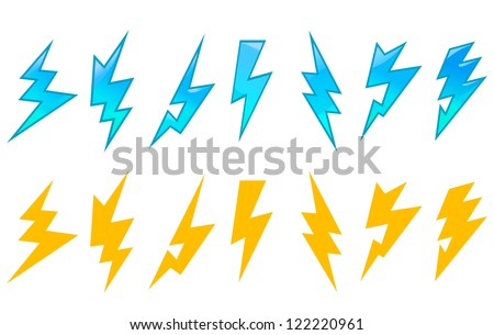 Set of lightning icons and symbols isolated on white background, such a sign template. Jpeg version also available in gallery - stock vector