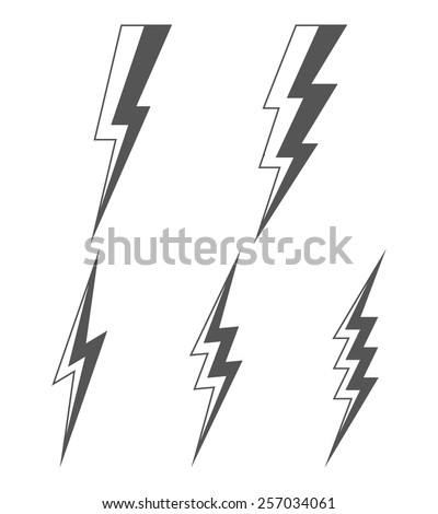 Set of lightning. Vector silhouettes of gray lightning isolated on white background. - stock vector