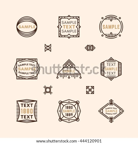 Set of Line Art Decorative Geometric Vector Frames and Borders with Brown Colors. Vector Ornaments, Vector Decoration, Line Ornament, Vector Logos, Vector Labels - stock vector