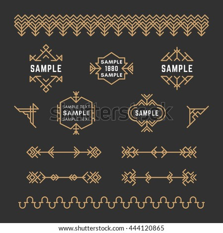 Set of Line Art Decorative Geometric Vector Frames and Borders with Golden and Black Colors. Vector Ornaments, Vector Decoration, Line Ornament, Vector Logos, Vector Labels - stock vector