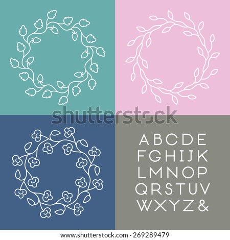 Set of line art vector monogram templates with slim font. - stock vector
