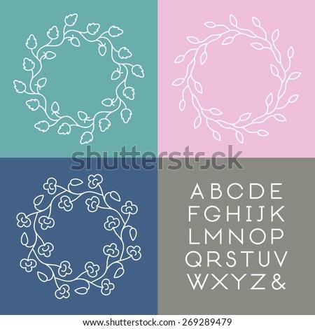Set of line art vector monogram templates with slim font. - stock vector