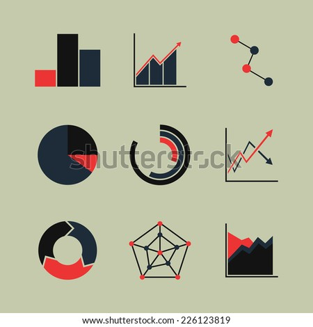 Set of line chart and diagram (black-red) icons. Isolated on light background. Vector illustration, eps 8. - stock vector