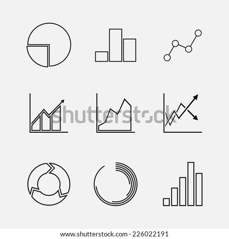 Set of line chart and diagram duo tone (black-white) icons. Isolated on white background. Vector illustration, eps 8.