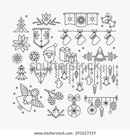 Set of line Christmas icons and decorations, new year isolated contour objects.  - stock vector