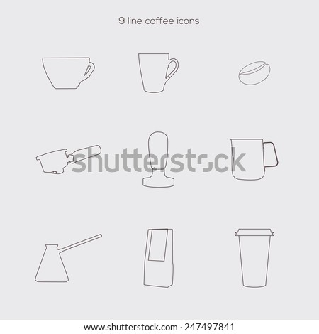 Set of line coffee icons. Coffee cup, coffee beans, coffee to go. - stock vector