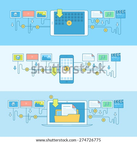 Set of line concept banners with flat design elements. Concepts for download of different content to digital devices. - stock vector