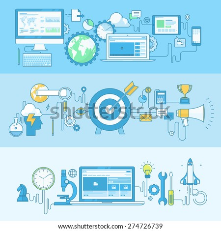 Set of line concept banners with flat design elements. Concepts for website and app design and development, project management, business plan, strategy, planning, marketing. - stock vector