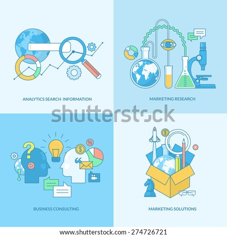 Set of line concept icons with flat design elements. Icons for business consulting, market research, analytics search information and marketing solutions. - stock vector