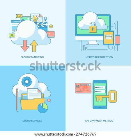 Set of line concept icons with flat design elements. Icons for cloud computing, network protection, online payment security. - stock vector