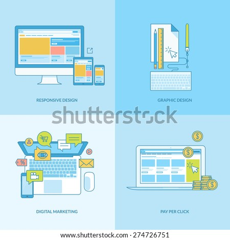 Set of line concept icons with flat design elements. Icons for web design, responsive design, graphic design, digital marketing, finance, pay per click. - stock vector