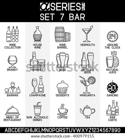 Set of line design icons of bar and alcoholic, non alcoholic drinks, EPS 8. - stock vector